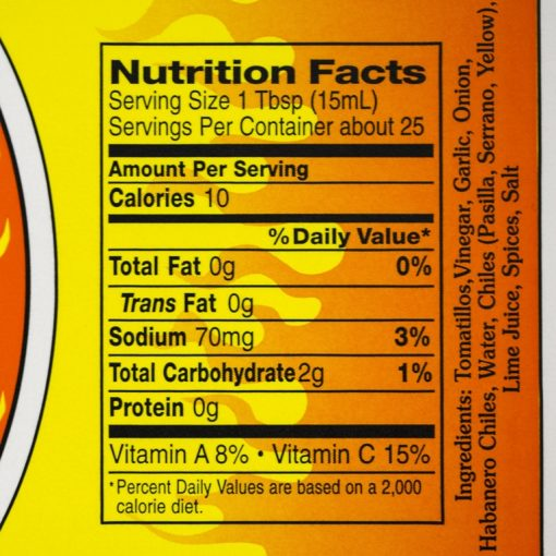 Tomatillo & Roasted Garlic Nutrition Fact Panel